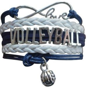 Girls Volleyball Bracelet - Navy & White